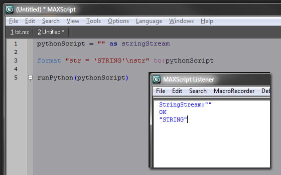 Python scripts running directly from MXS